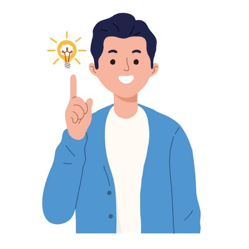 Desenho ilustrativo de um homem tendo uma ideia