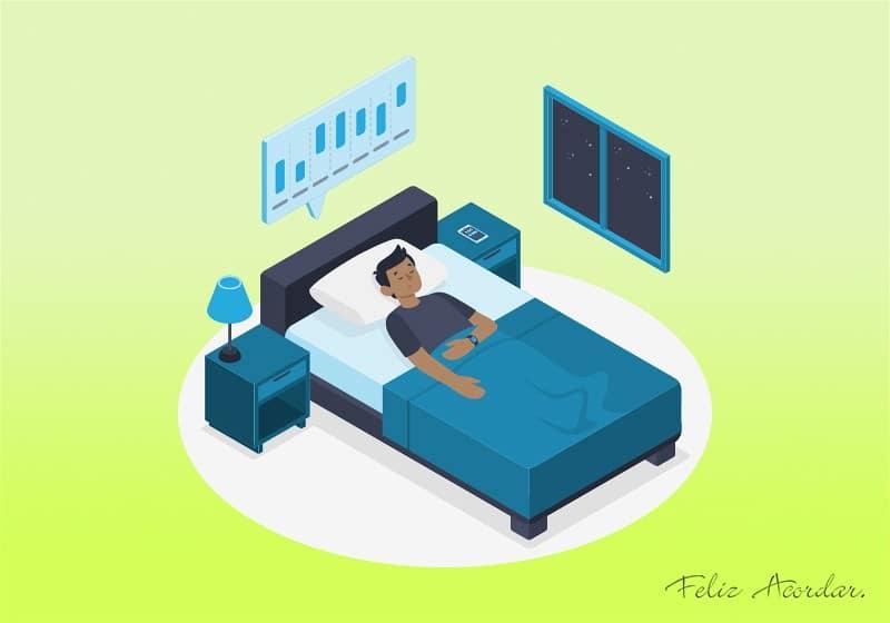 Desenho ilustrativo de um homem em seu quarto deitado em sua cama dormindo